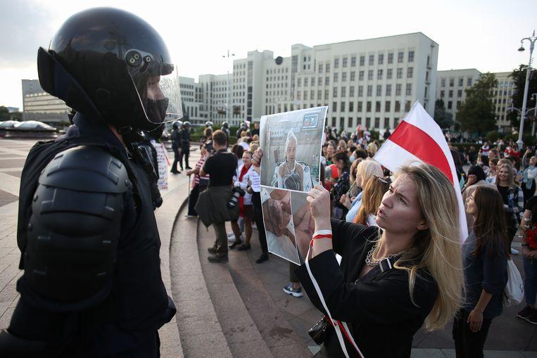 Demonstratie vorige maand in Minsk, de hoofdstad van Belarus. Beeld Hollandse Hoogte / AFP