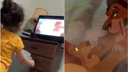 Klein meisje dat naar 'The Lion King' kijkt gaat viraal dankzij haar reactie op de dood van Mufasa