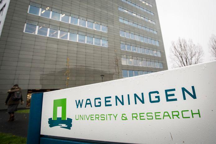 Een logo de universiteit van Wageningen.