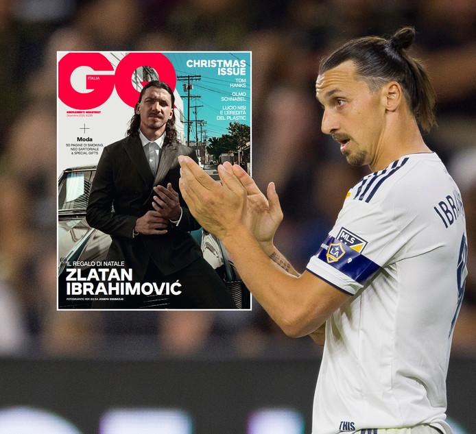 Zlatan Ibrahimovic. Inzet: de cover van het kerstnummer van GQ Italia.