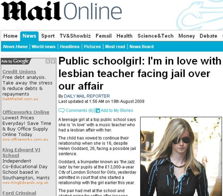 Helen Goddard (26) had seks met een van haar leerlingen.