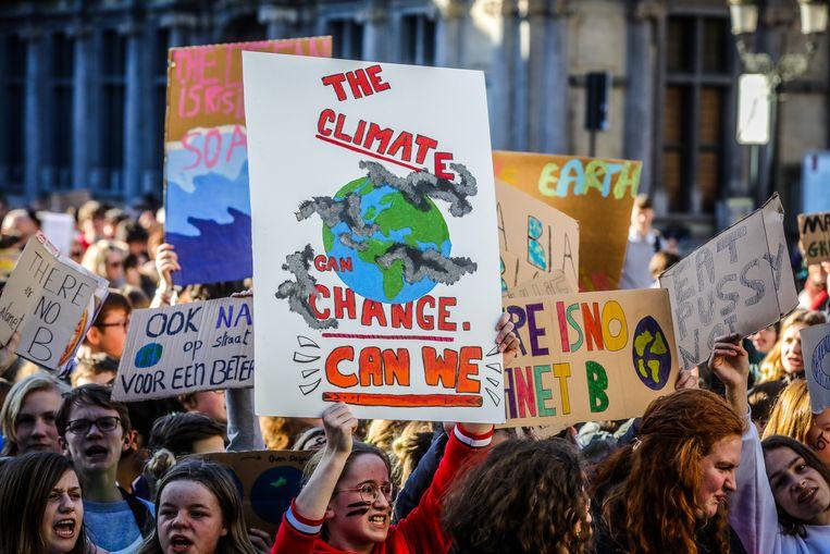 Een beeld van één van de klimaatmarsen afgelopen jaar in Brugge.