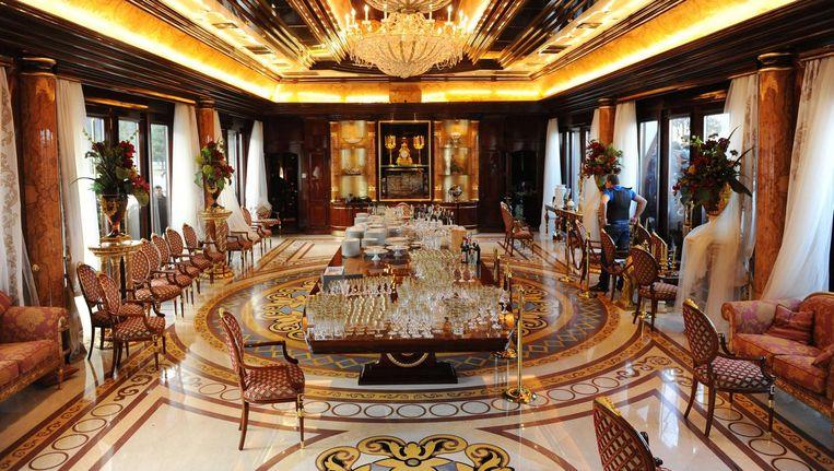 Het Mezhyhirya-paleis, de privéresidentie van de voormalige Oekraïense president Janoekovitsj. Beeld AFP