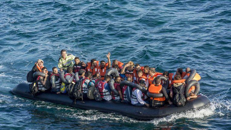 Bootvluchtelingen op de Middellandse Zee. Beeld ANP