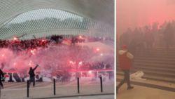 De Vurige Stede ontwaakt en dat hebben  treinreizigers geweten, hal Brussel-Centraal gevuld met rode rook