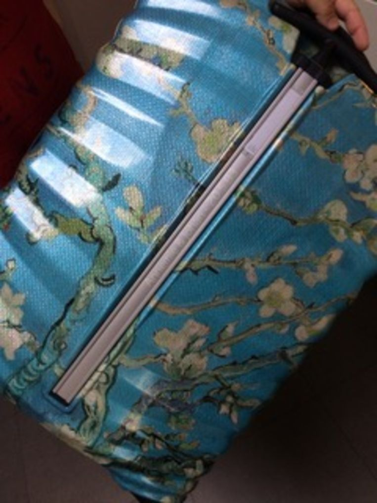 De 'vermiste' koffer van de Serkeyns met het Van Gogh-motief.
