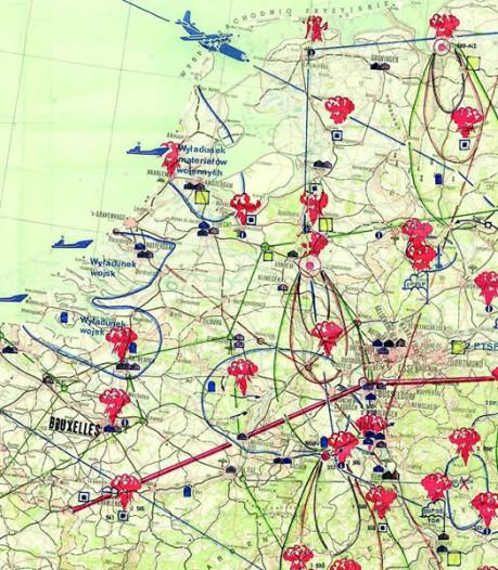 Op deze historische kaart tekenden de Polen waar ze in Nederland een kernbom zouden gooien