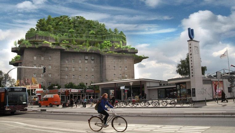 Illustratie van de plannen voor een dakpark op de Hamburgse Flakbunker (Flak is de afkorting voor Flugabwehrkanone). Beeld