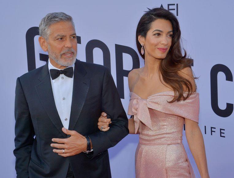 George Clooney met zijn vrouw Amal.