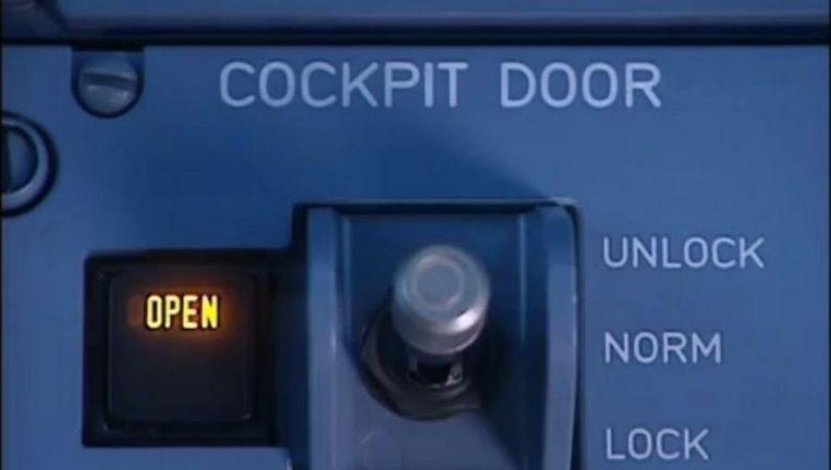 Het vergrendelingssysteem van de cockpitdeur.