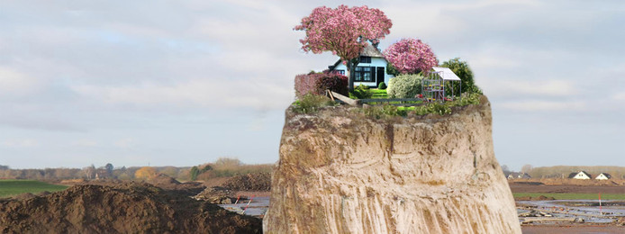 Het ontwerp Altijd Lente: een boerderij, een kas, een bloeiende kersenboom en een bankje. Bovenop een bergje. Het staat voor de Bongerd achter de nieuwe kade Lentse Warande.