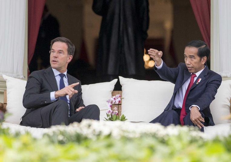 Premier Rutte en president Joko Widodo op de veranda van het Nationaal Paleis (Istana Negara) Beeld anp
