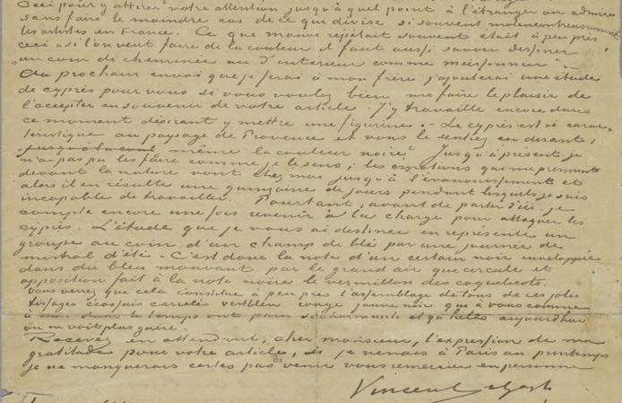 Brief van Vincent van Gogh aan criticus Gabriel-Albert Aurier.