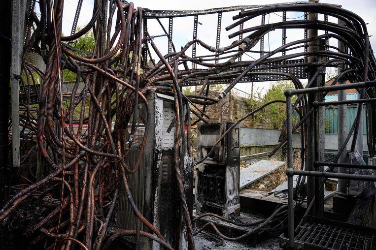 Brandschade aan een mast in Groot-Brittannië. Beeld AFP