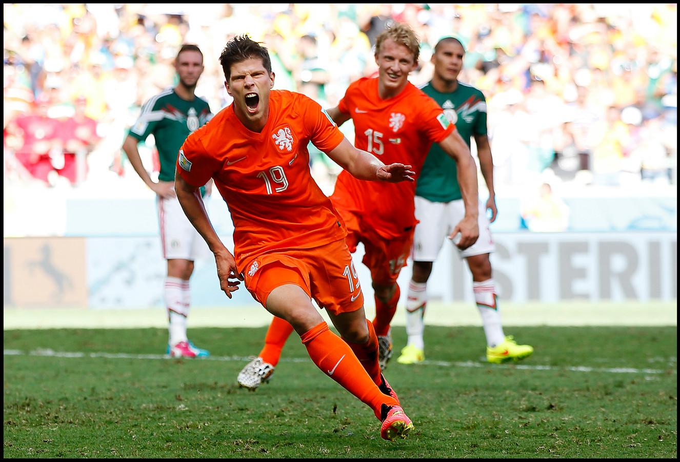 KlaasJan Huntelaar op de toppen van zijn kunnen. Op het WK maakte hij het winnende doelpunt tegen Mexico.
