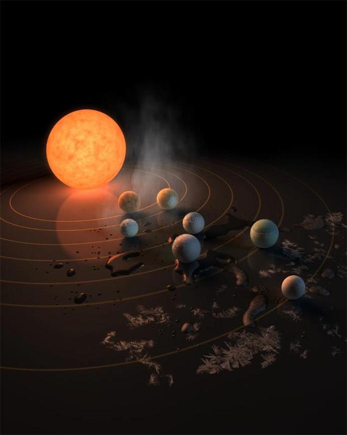 Deze artist's impression toont TRAPPIST-1 en haar planeten, weerspiegeld in een oppervlak. De stoomwolken, poelen water en ijskristallen symboliseren de mogelijkheid dat er water is op elk van deze werelden ¿ in welke vorm dan ook.