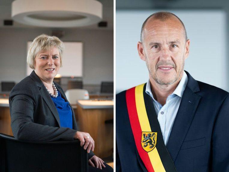 Chris De Veuster (CD&V-Groen) en Peter Gysbrechts (Lijst Burgemeester)