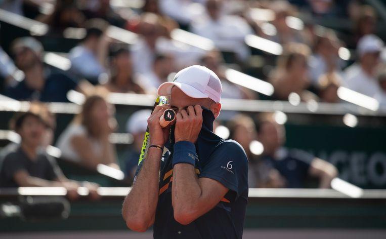 Benoit Paire tijdens zijn uiteindelijk verloren wedstrijd tegen Kei Nishikori. Beeld Getty Images