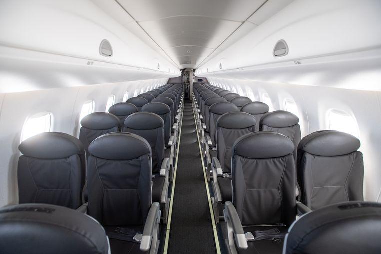 Een vrijwel leeg toestel van British Airways op weg van Londen naar Milaan. Beeld Getty Images