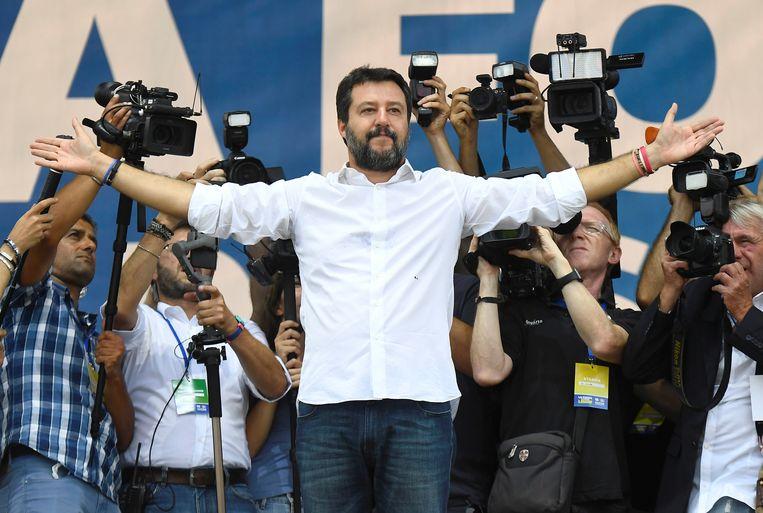Matteo Salvini tijdens de bijeenkomst vandaag.