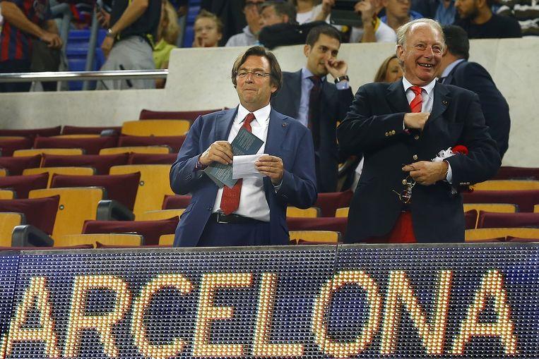 Hans Wijers op de tribune bij FC Barcelona. Beeld PRO SHOTS