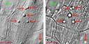 Op deze kaart wijzen de rode pijlen naar grafheuvels en de groene naar een houtskoolmeiler. Die laatste worden omringd door een greppel, in tegenstelling tot bij een grafheuvel.