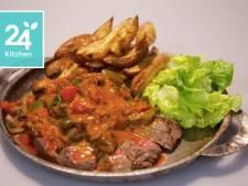 Biefstuk Stroganoff met Moroccan touch en ras el hanoutfriet