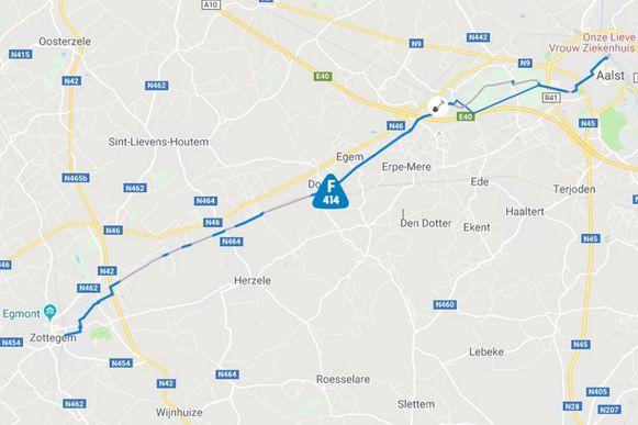 Het traject van fietssnelweg F414 loopt van Zottegem tot Aalst.