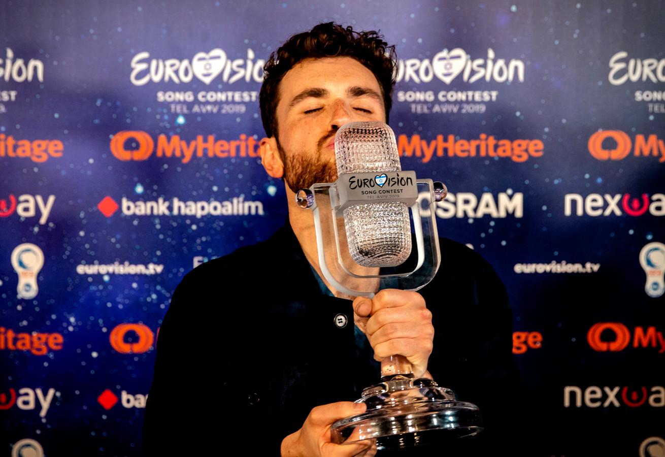 Winnaar Duncan Laurence staat de pers te woord na afloop van de finale van het Eurovisie Songfestival. De zanger stond in de finale met zijn lied Arcade in de finale van het jaarlijkse liedjesfestijn. ANP KIPPA SANDER KONING