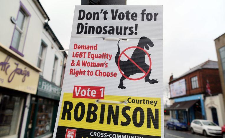 Een verkiezingsposter in Noord-Ierland. Beeld AFP