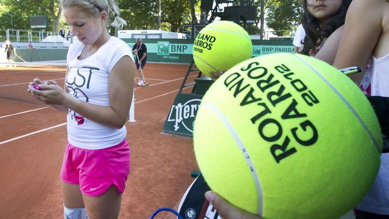 Michaëlla Krajicek, zaterdag tijdens een training op Roland Garros. Beeld anp