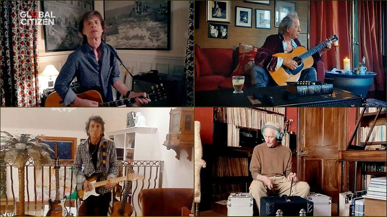 De Rolling Stones tijdens het online festival 'One World: Together at Home' Beeld Getty Images