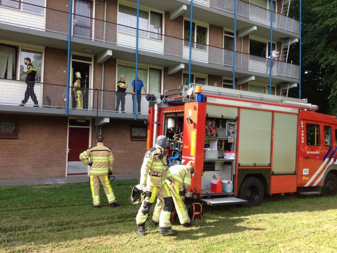 De brandweer rukte om 9:52 u. uit voor een brand aan de Telemannstraat. Foto: Olger Koopman