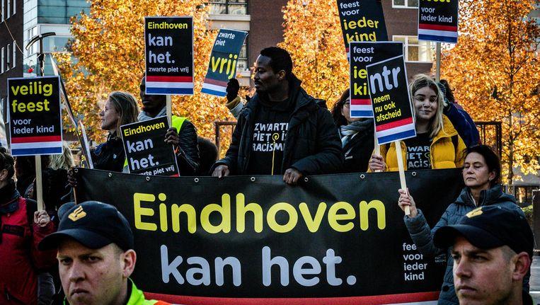 Jerry Afriyie tijdens de demonstratie in Eindhoven. Beeld anp