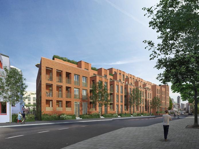 Een impressie van de bouwplannen van Burgland Real Estate op het terrein Van de Ven & Co in Eindhoven met op de voorgrond de Willemstraat.
