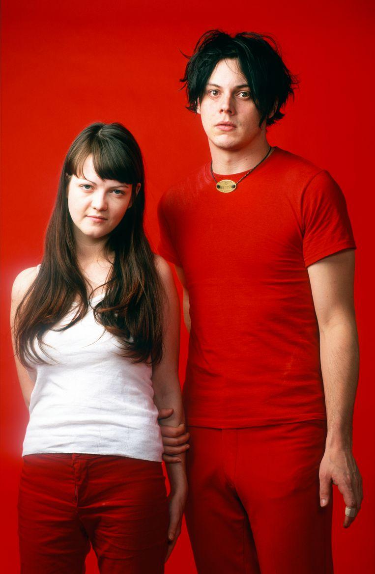 Jack White en Meg White van The White Stripes, 2001 Beeld Getty Images