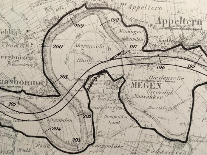 Kaart van de Maaswerken Megen.