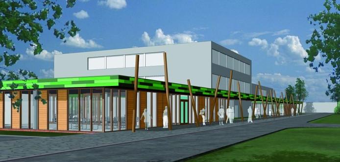 De 'artist impression' van de nieuwbouw rond het AOC. In de laagbouw komt een praktijkcentrum, waar alle praktijkonderdelen van de groenschool bijeen worden gebracht. afbeelding SP Architecten