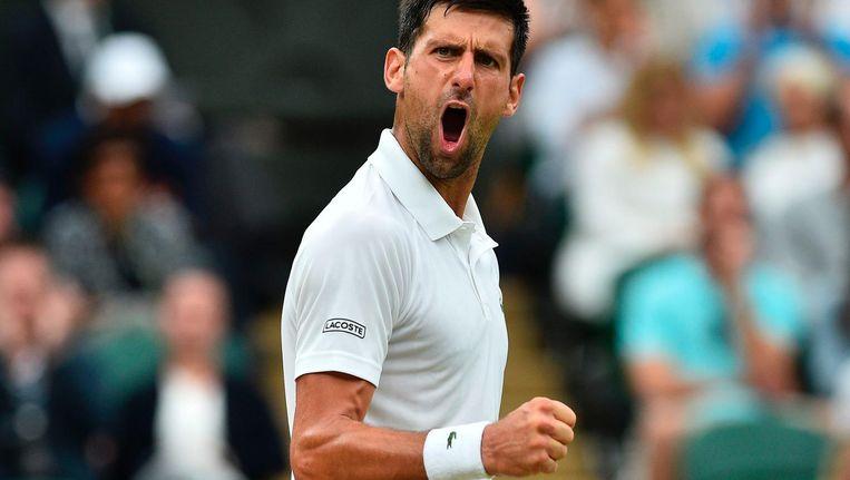 Novak Djokovic is duidelijk blij met het winnen van de derde set tegen Adrian Mannarino. Beeld null