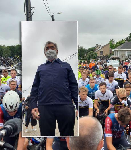 Wielericoon Merckx schiet met mondkapje GP Vermarc in gang