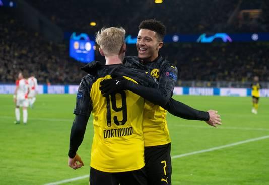 Julian Brandt en Jadon Sancho, de doelpuntenmakers bij Borussia Dortmund.