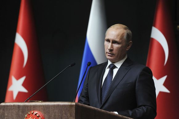 Poetin bij een toespraak in Turkije op 1 december, waar hij aankondigde het South Stream-project stop te zetten.