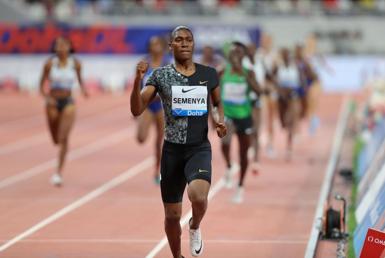 Caster Semenya liet de concurrentie ver achter zich op de 800 meter vorige week in Doha. Beeld AFP