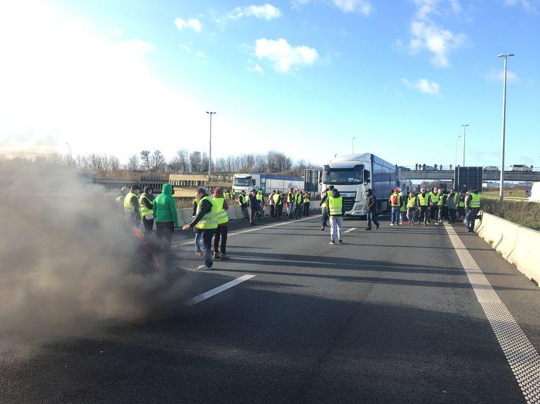 Actie van de gele hesjes op de E17.