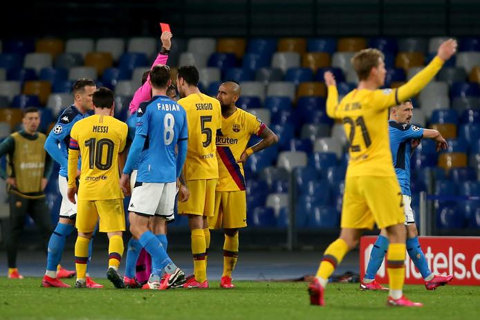 Arturo Vidal moest in de slotfase met rood van het veld.