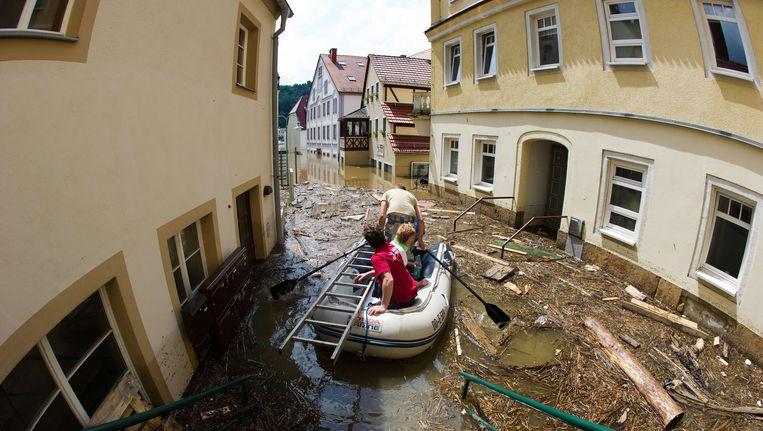Overstromingen in Wehlen, Oost-Duitsland. Beeld AFP