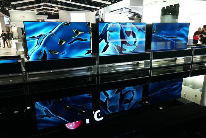 De nieuwste LG-tv's op de Consumer Electronics Show (CES) in Las Vegas.