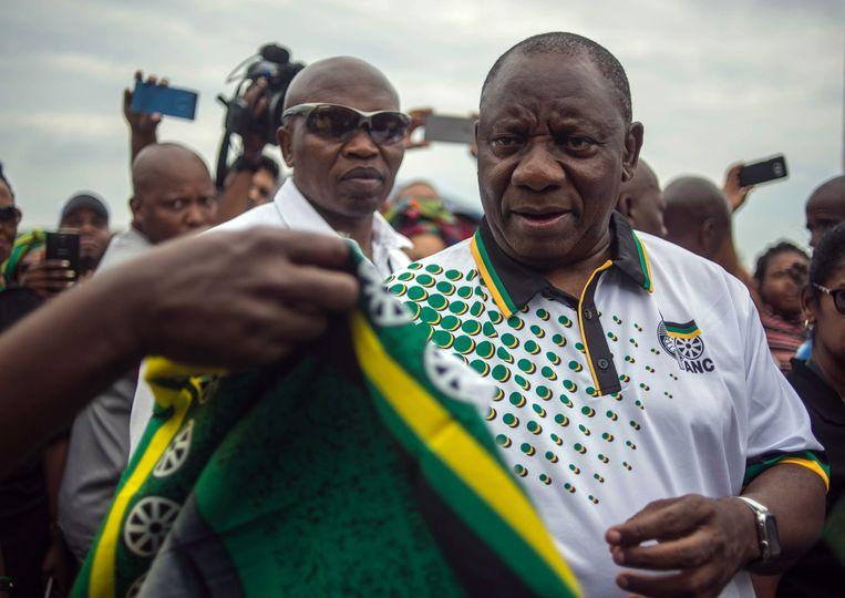 De nieuw verkozen leider van het ANC, Cyril Ramaphosa. Beeld AFP