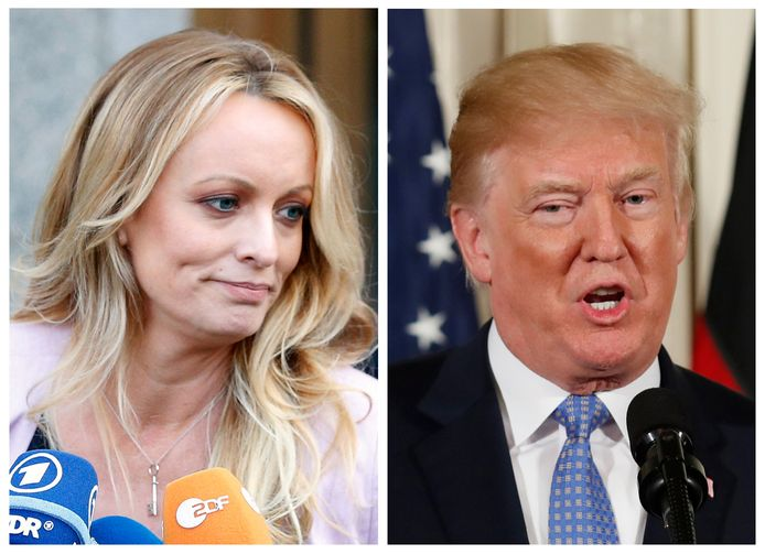 Pornoactrice Stormy Daniels en de Amerikaanse president Donald Trump.