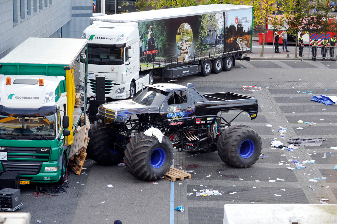 De monstertruck van Mario D. na het drama in Haaksbergen.